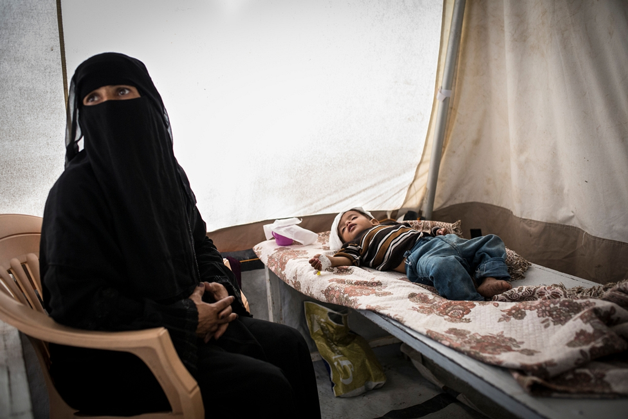 A child in the cholera unit of a Yemeni hospital