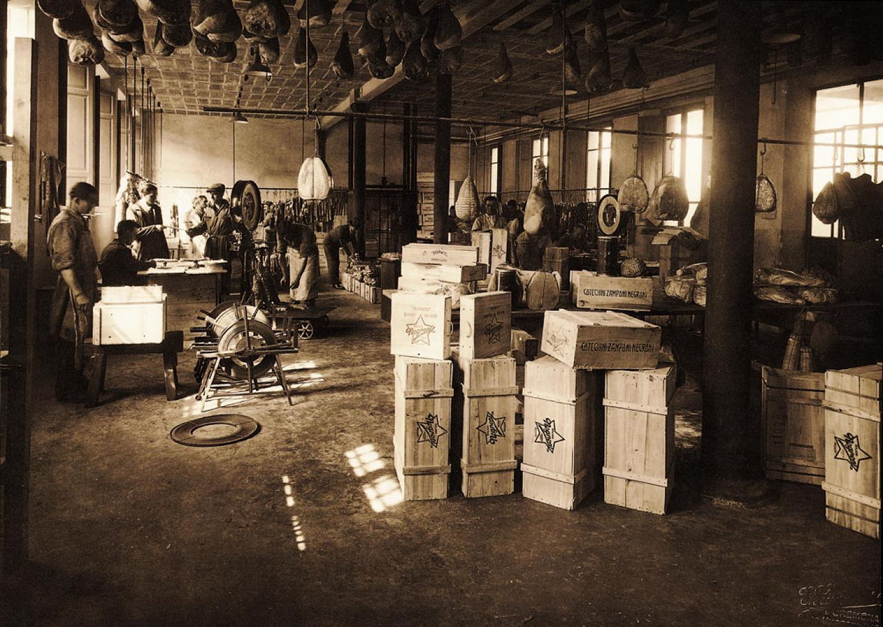 The shipment warehouse in 1910 from Negroni, a Parma ham producer