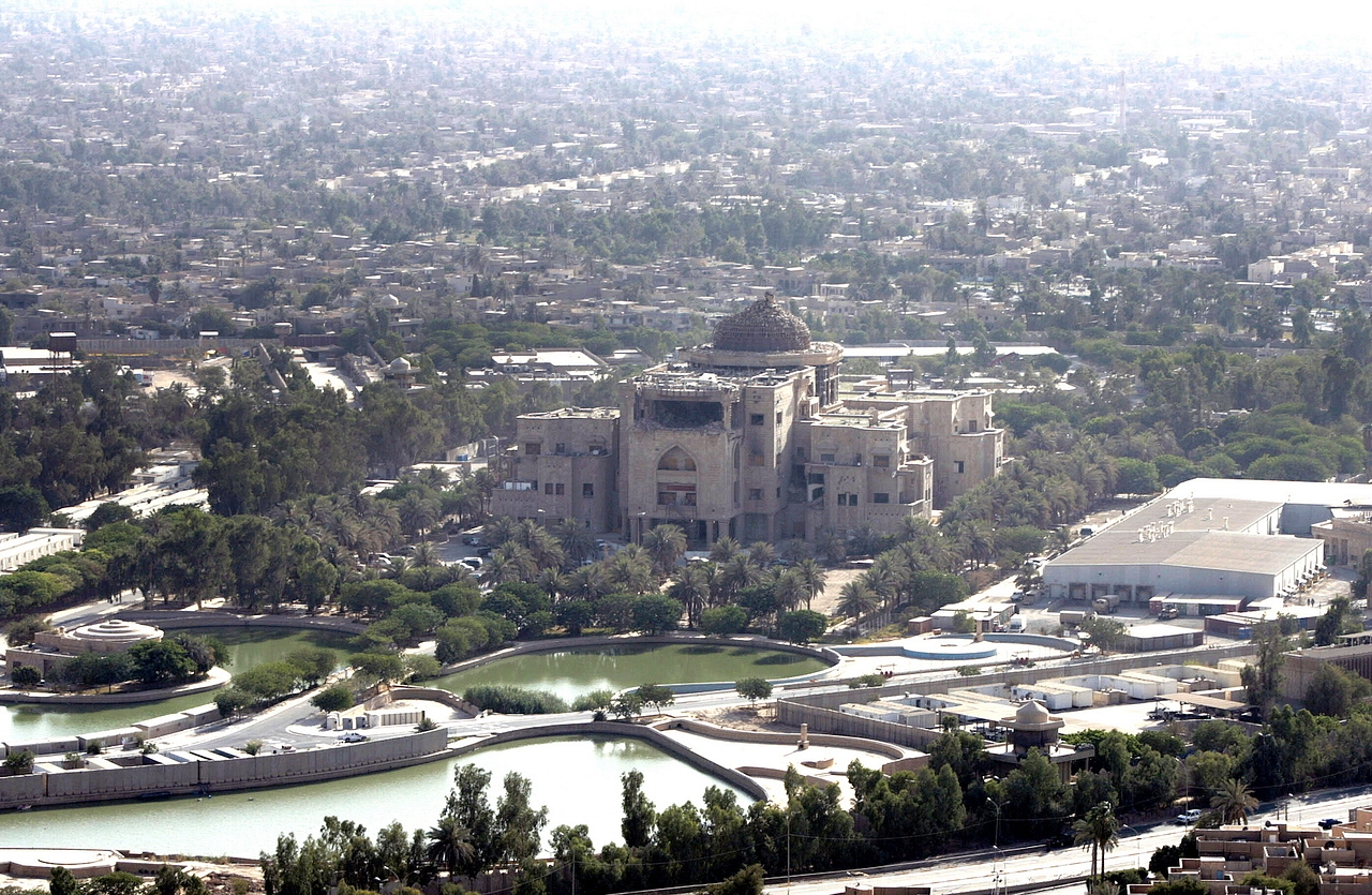 An aerial view of the former Zuhur royal palace at Nusur square in what became the fortified 'Green Zone' in Iraq, in June 2009