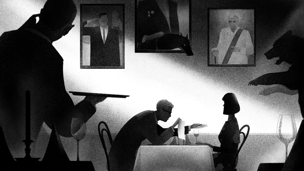 Illustration of man making offer to woman over dinner
