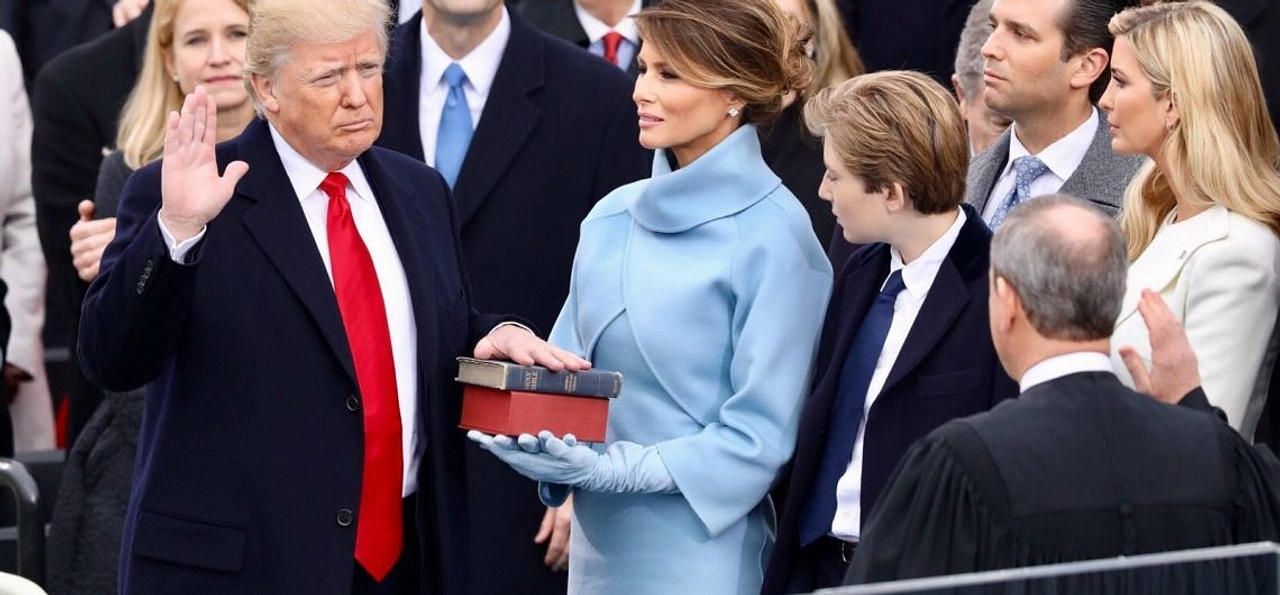 President Donald Trump and his wife, Melania, at his inauguration on 20 January, 2017