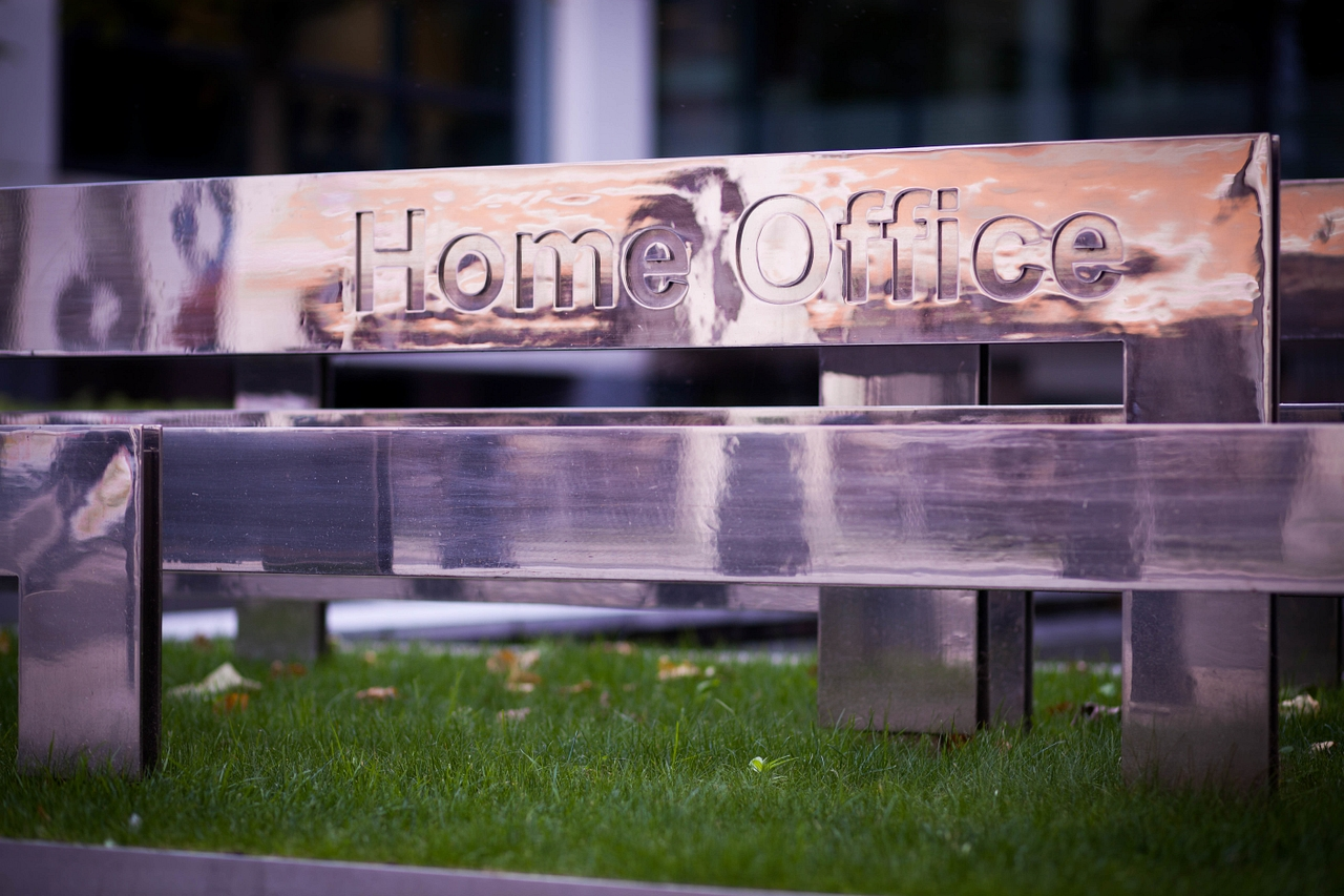 Home Office logo outside its Westminster headquarters